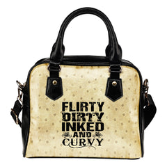 Flirty Dirty Inked And Curvy Leather Shoulder Hangbag