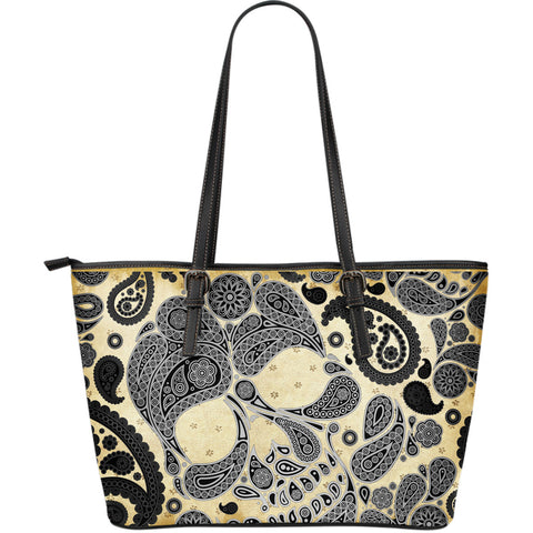 Black Skulls Leather Tote Large