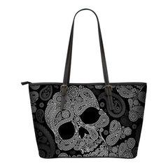 Black Skull Leather Tote