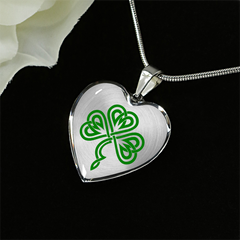 Shamrock Knot Heart Necklace And Bangle Bracelet