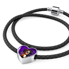Calavera Girl Leather Charm Bracelet Purple