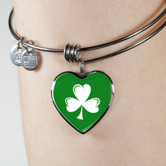 Shamrock Heart Bangle Bracelet and Necklace