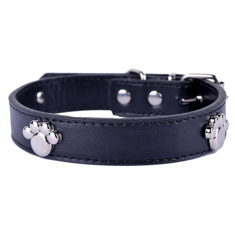 Paw Studded Leather Dog Collar