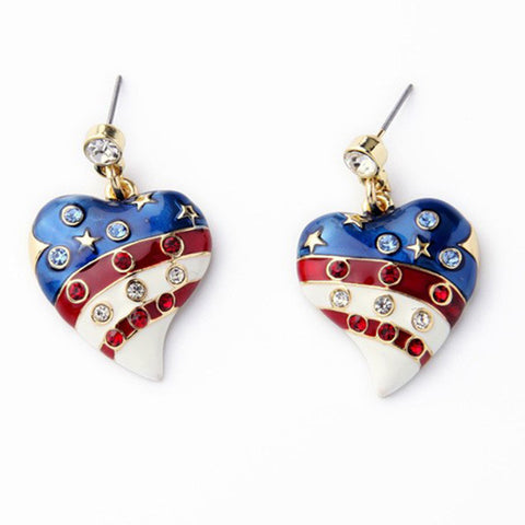 Heart-Shaped American Flag Earrings