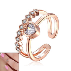 Heart Austrian Crystal Toe or Mid Finger Ring