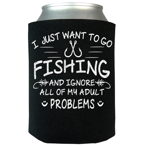 I Just Want To Go Fishing Can Koozie