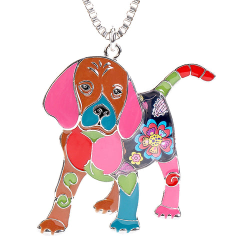 Puppy Enamel Necklace and Keyring Set