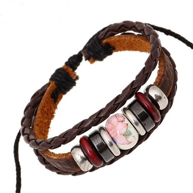 Pink and Blue Beads Braided Leather Bracelet