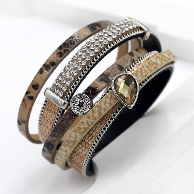 Winding Leather Bangle Bracelet