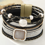 Gem Rhinestone Leather Bracelet & Bangles
