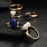 Gold and Silver Stone Ring Set 4 PCS