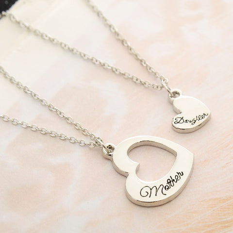 Mother Daughter Double Heart Pendant Necklace