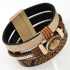 Gem Rhinestone and Snake Leather Bangles Bracelet