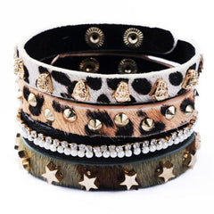 Leopard Print Leather Bangles Bracelet Set