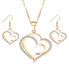 Romantic Heart Crystal Earrings and Necklace Set