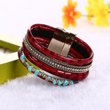 Boho Bamboo Bangles Leather Bracelet
