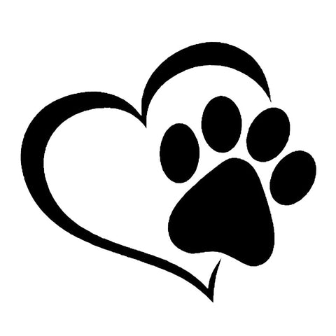 Heart Dog Paw Car Decal