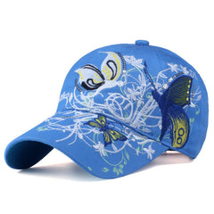 Butterflies and Flowers Embroidered Baseball Cap