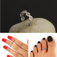 Silver Flower Trendy Toe or Mid Finger Ring