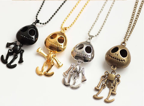 Big Eyes Skull Head Pendant Long Chain Necklace
