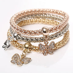 Gold Silver and Rose Gold Crystal Charm Bracelet - 3 Piece Set