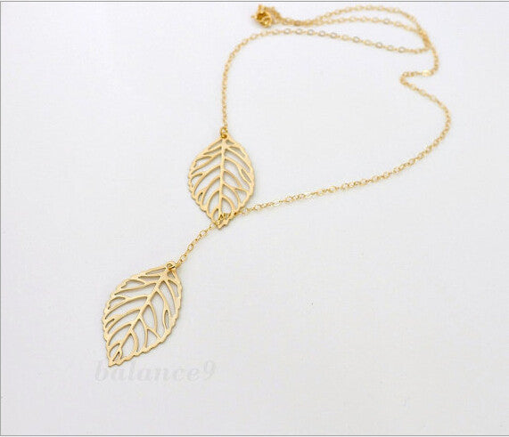 Silver Plated Double Leaves Necklace