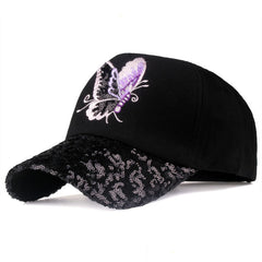 Butterfly and Sequins Embroidered Baseball Cap