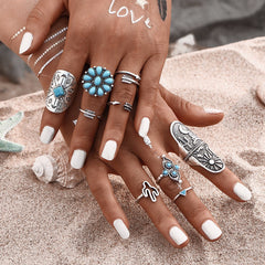 Blue Stone Bohemian Ring Set 9PCS