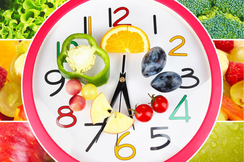 clock with fruits and vegetables