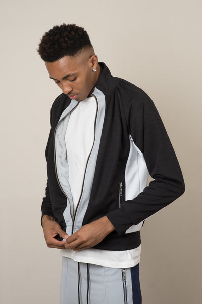 Tracksuit Jacket - Black/Silver/White - CommeMoi