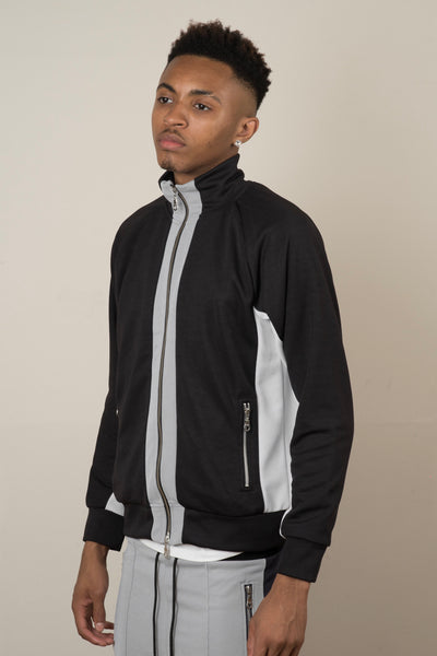 Tracksuit Jacket - Black/Silver/White