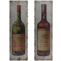 Bottles of Wine on Metal Wall Art