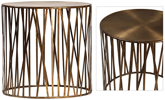 Brass caged side table