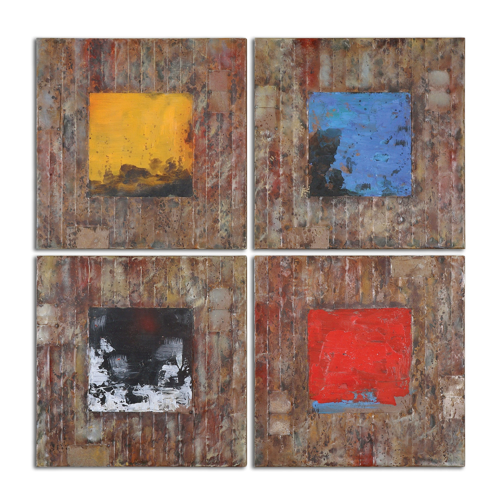 Squares of primary colors painted onto reclaimed wood