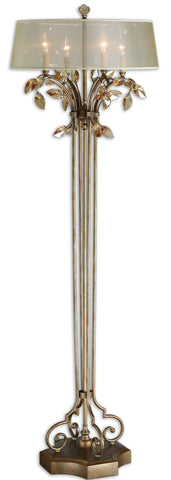 Golden floor lamp with amber crystal leaf accents and four lights under a silver shade