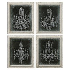 Set of 4 sketches of chandeliers