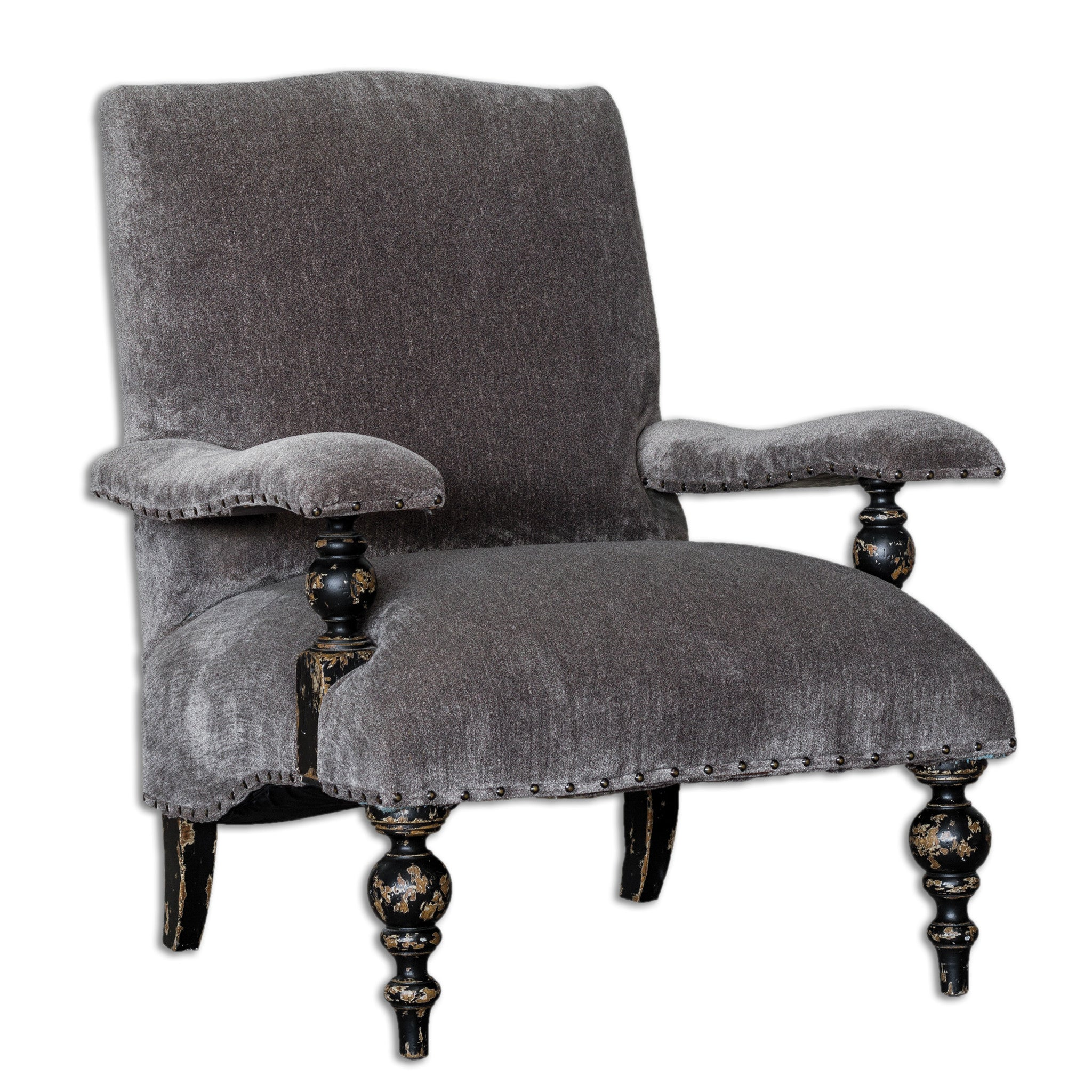 Gray Chenille armchair with dark distressed wood legs and nickel nailheads along the bottom of the seat
