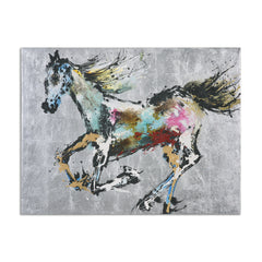 Abstract drawing of a horse mid-gallop colored in yellow, pinks, reds and blues