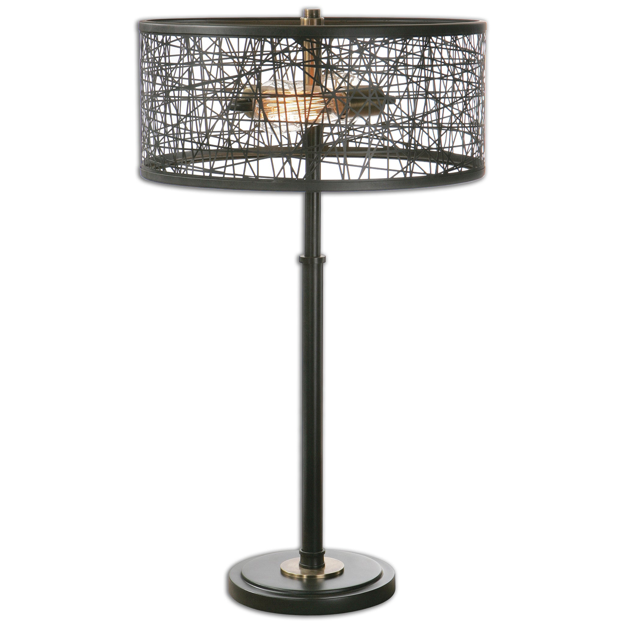 Rustic black metal base and a matching shade made of messed metal strips accented with plated antiqued gold details. Two antique style bulbs included.