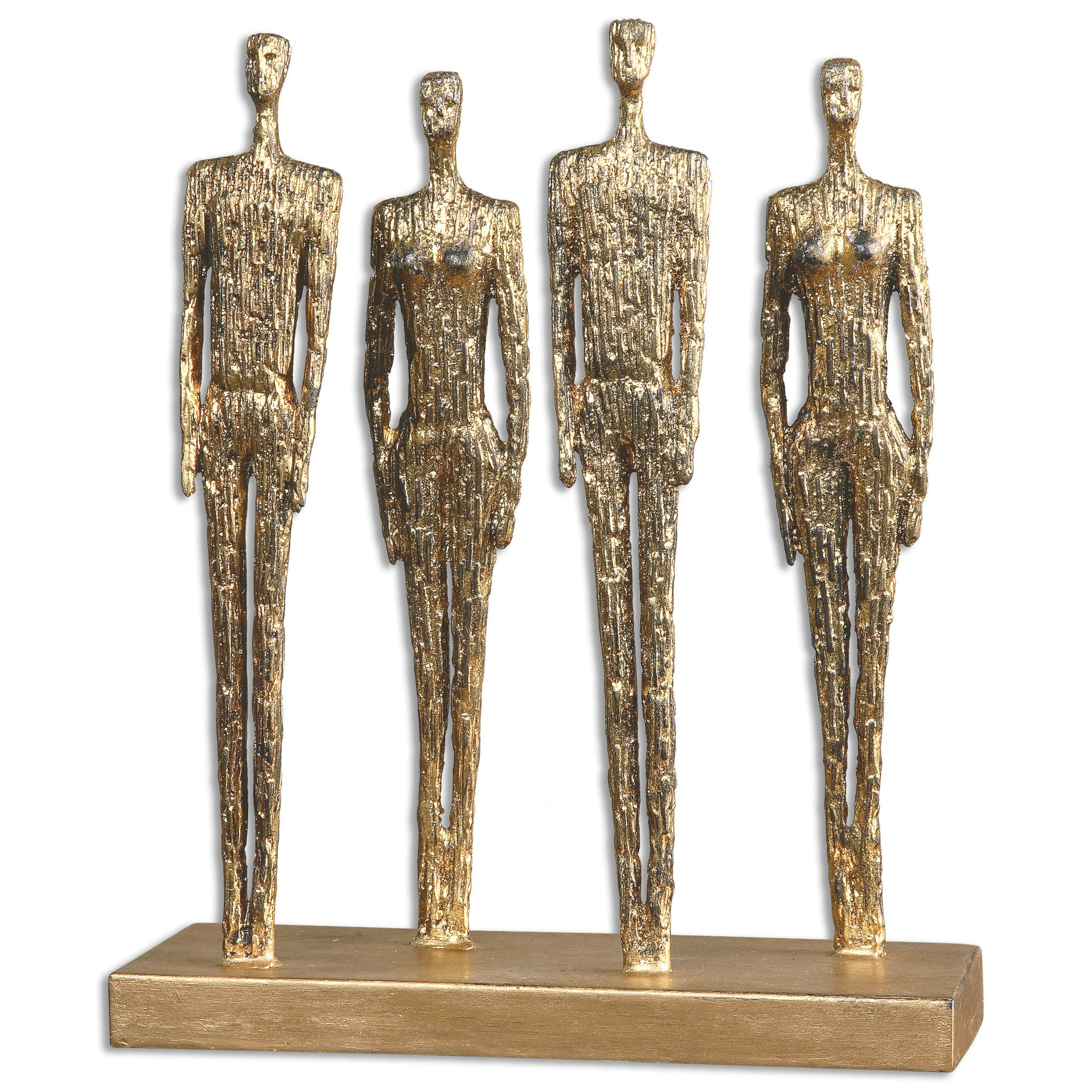 Metal sculpture of cadets at attention in a distressed gold finish