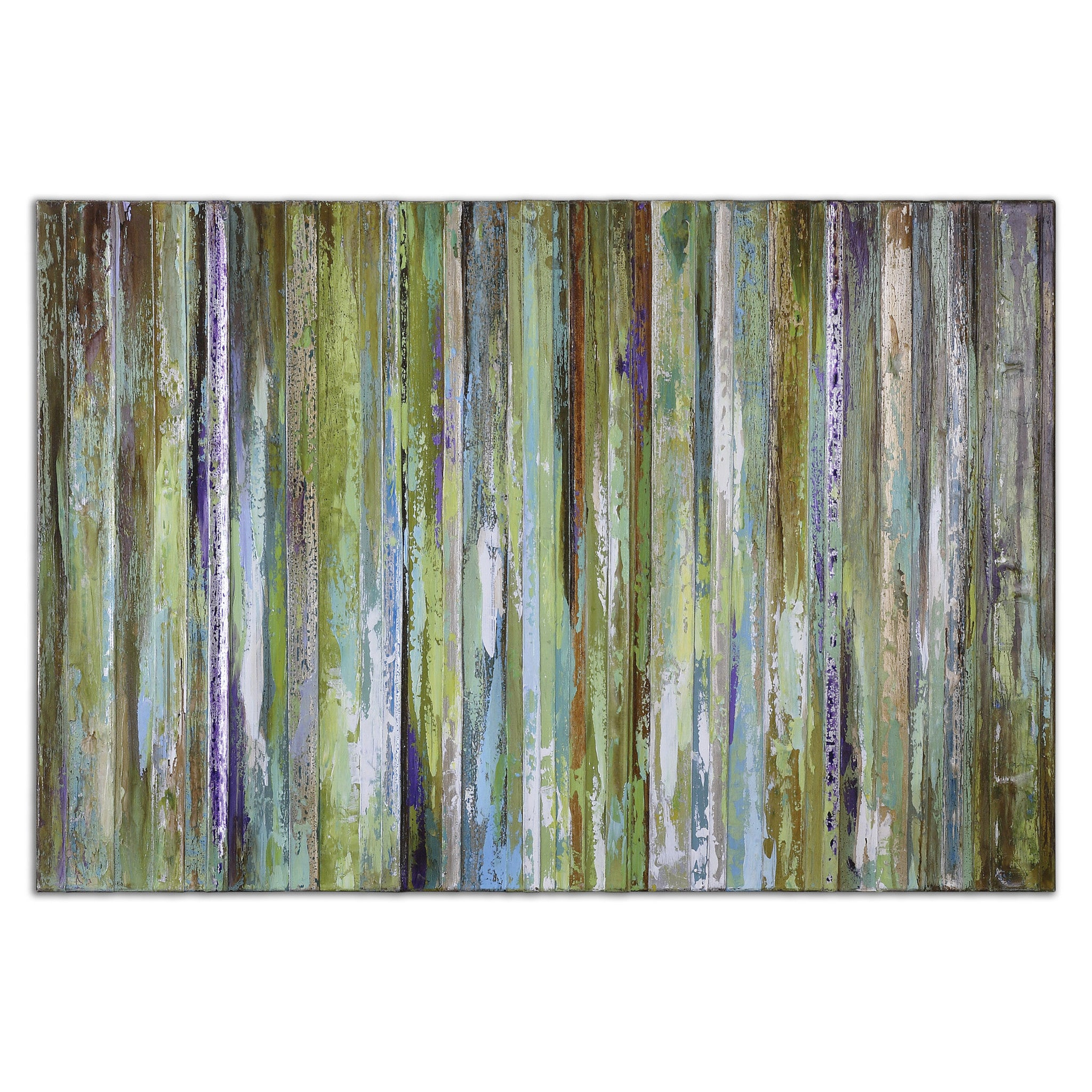 Abstract painting with streaks of green, blue, orange and white