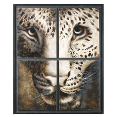 Big cat portrait looking through faux window pane
