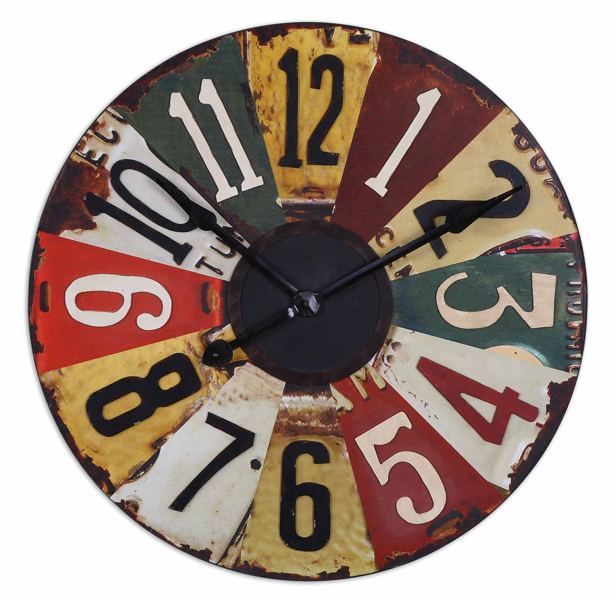 This Colorful Clock Face Consists Of Vintage Pictures Old License Plates With Rustic Bronze Details