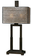 Metal base finished in oil rubbed bronze. Metal rectangle shade with an oil rubbed bronze finish and champagne mica liner.