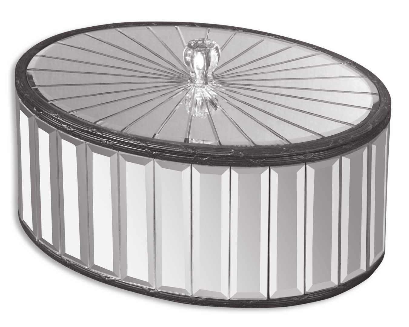 Oval box made of beveled mirrors