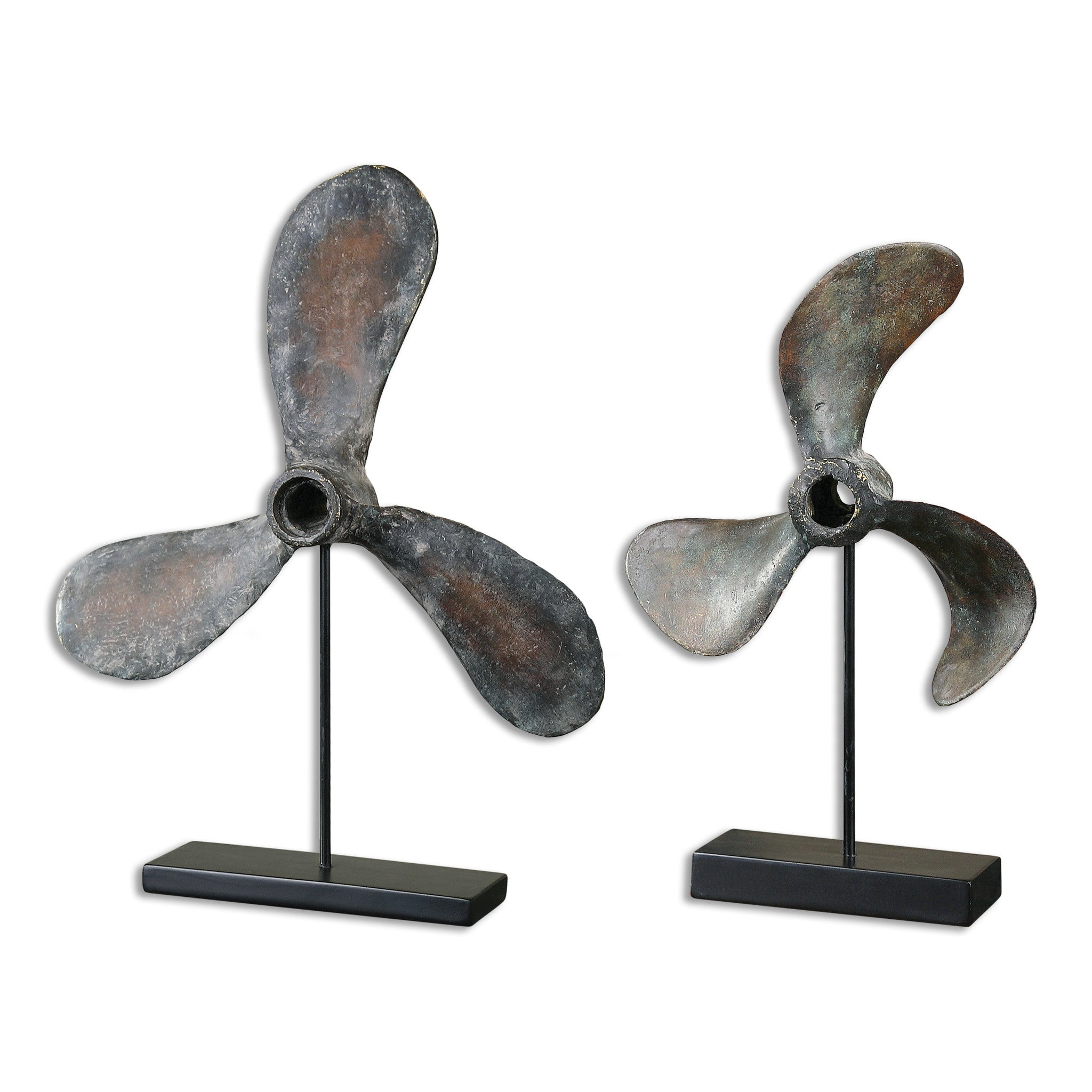 Sculptures of vintage propellers