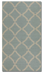 Baby blue woven rug with ivory details