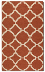 Burnt orange woven rug with ivory details