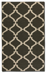 Charcoal woven rug with ivory details