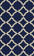 Indigo woven rug with ivory details